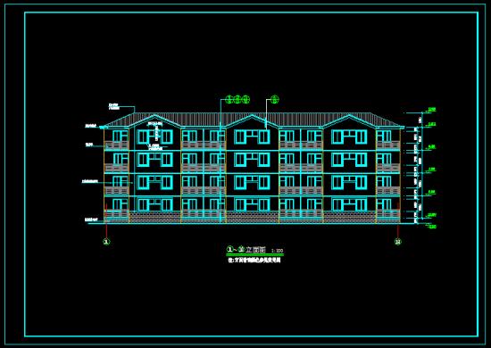 部队多层宿舍楼平立面图
